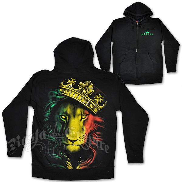 4523eed1a3c4d Fierce Rasta Lion and Crown Black Hoodie - Men's | My Prince ...
