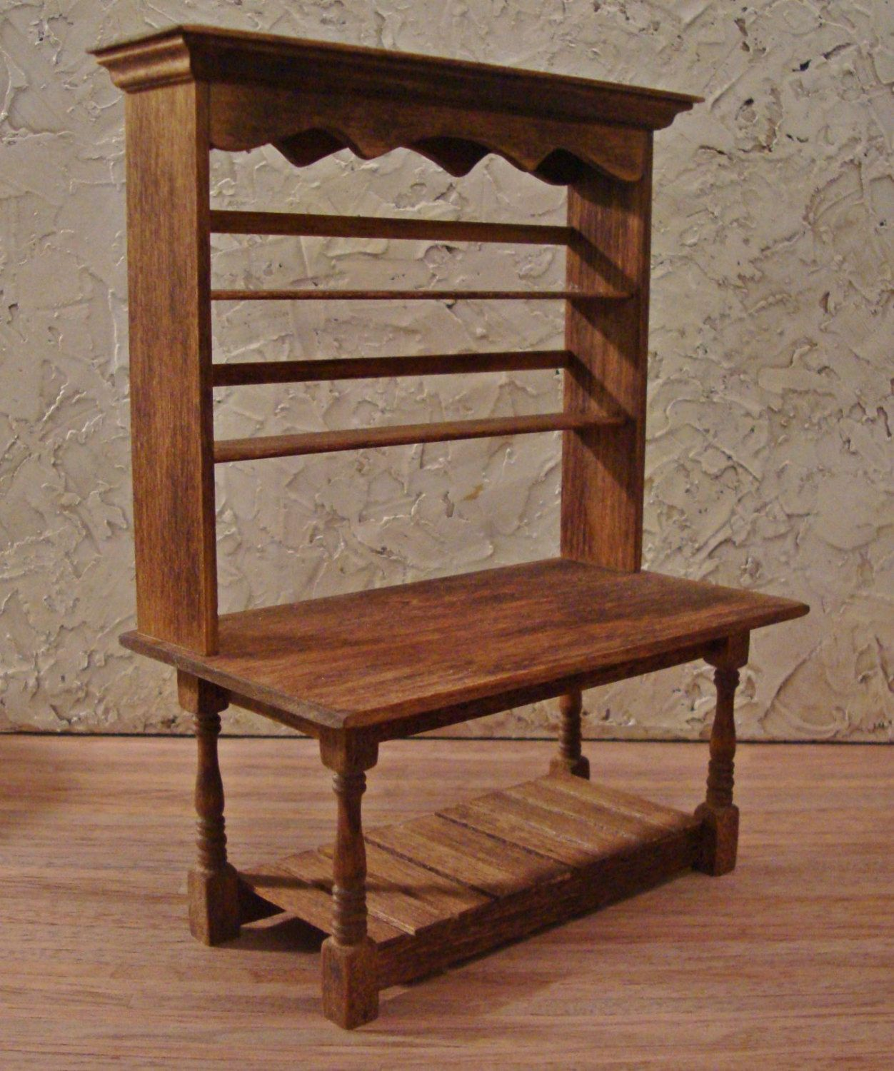 Rustic Kitchen Work Table 1 Inch Scale Miniature Dollhouse