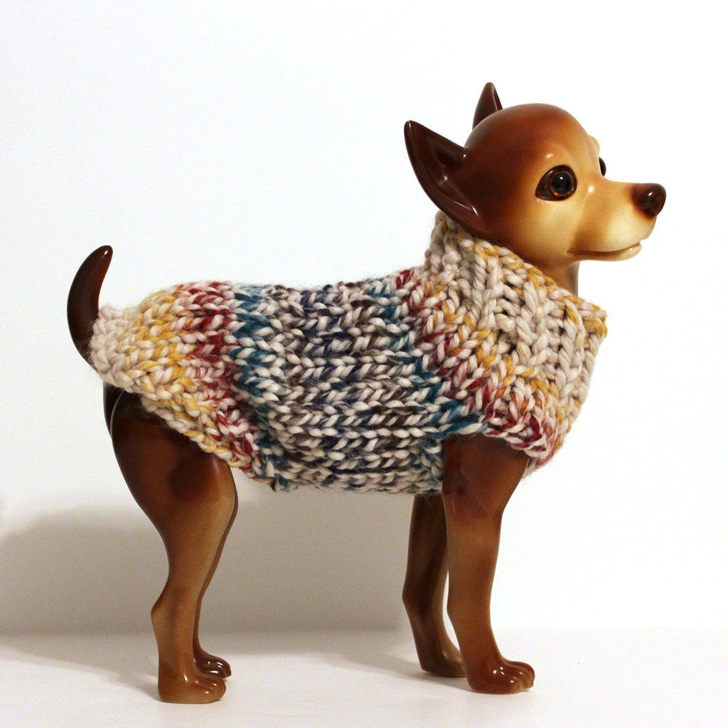 Ivory Blue Yellow And Red Striped Dog Sweater Dog Sweaters Knit