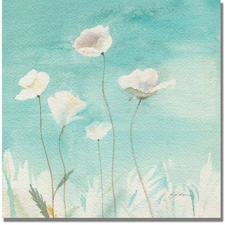 Trademark Art White Poppies Canvas Art By Shelia Golden Walmart Com Golden Painting Poppy Painting Art