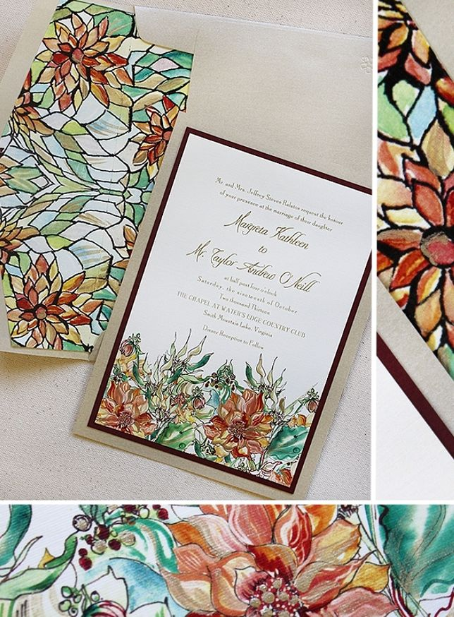 Handpainted Stained Glass Watercolor Wedding Invitations Paper