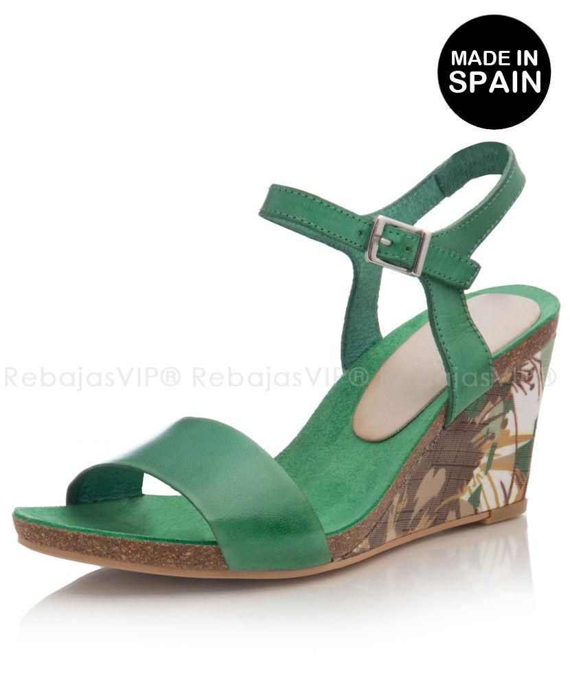 Zapatos de cuña fabricadas en España en piel - Alejandra verde Cuña 7,5 cm