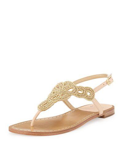 Stuart Weitzman Sugarbaby Embellished Thong Sandal Sandalias Sandalias Sandals Rhinestone Sandals Golden Sandals