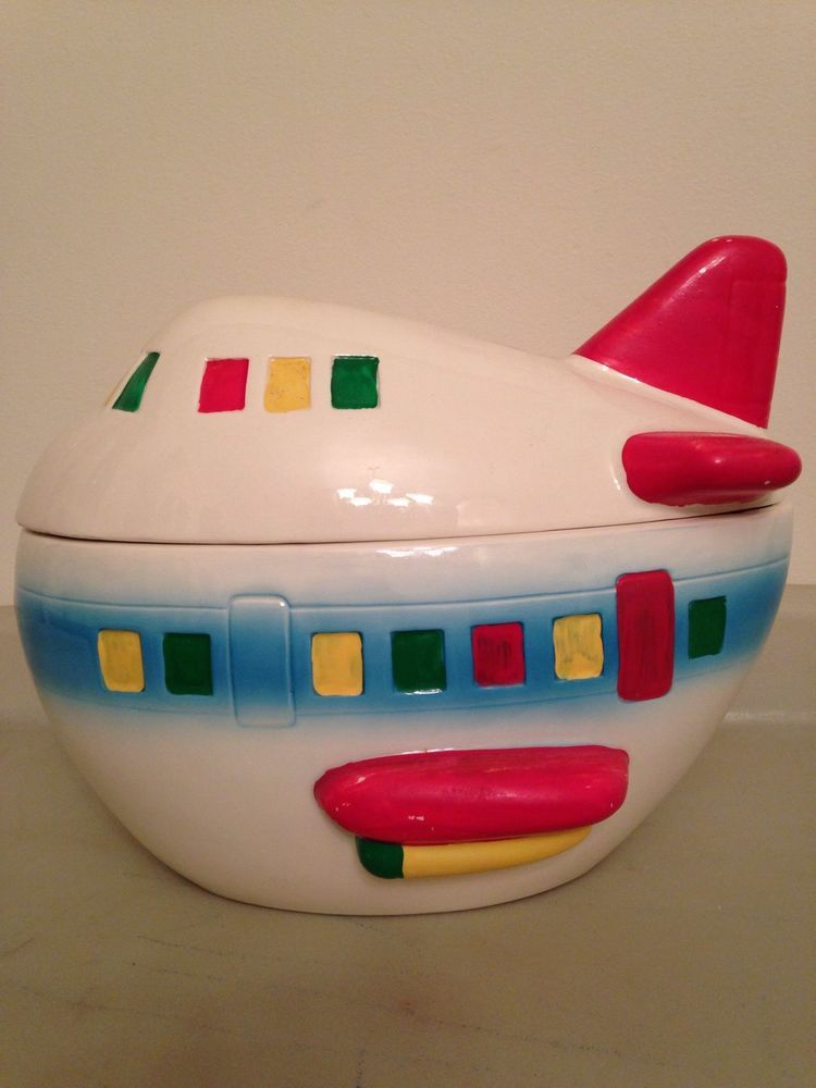Vintage Rare Pottery Airplane Cookie Jar Made In An