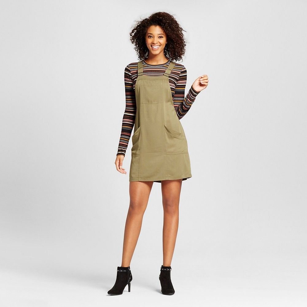 2cac5293a09 Women s Pinafore with Long Sleeve Top Olive (Green) Xxl - Xhilaration  (Juniors )