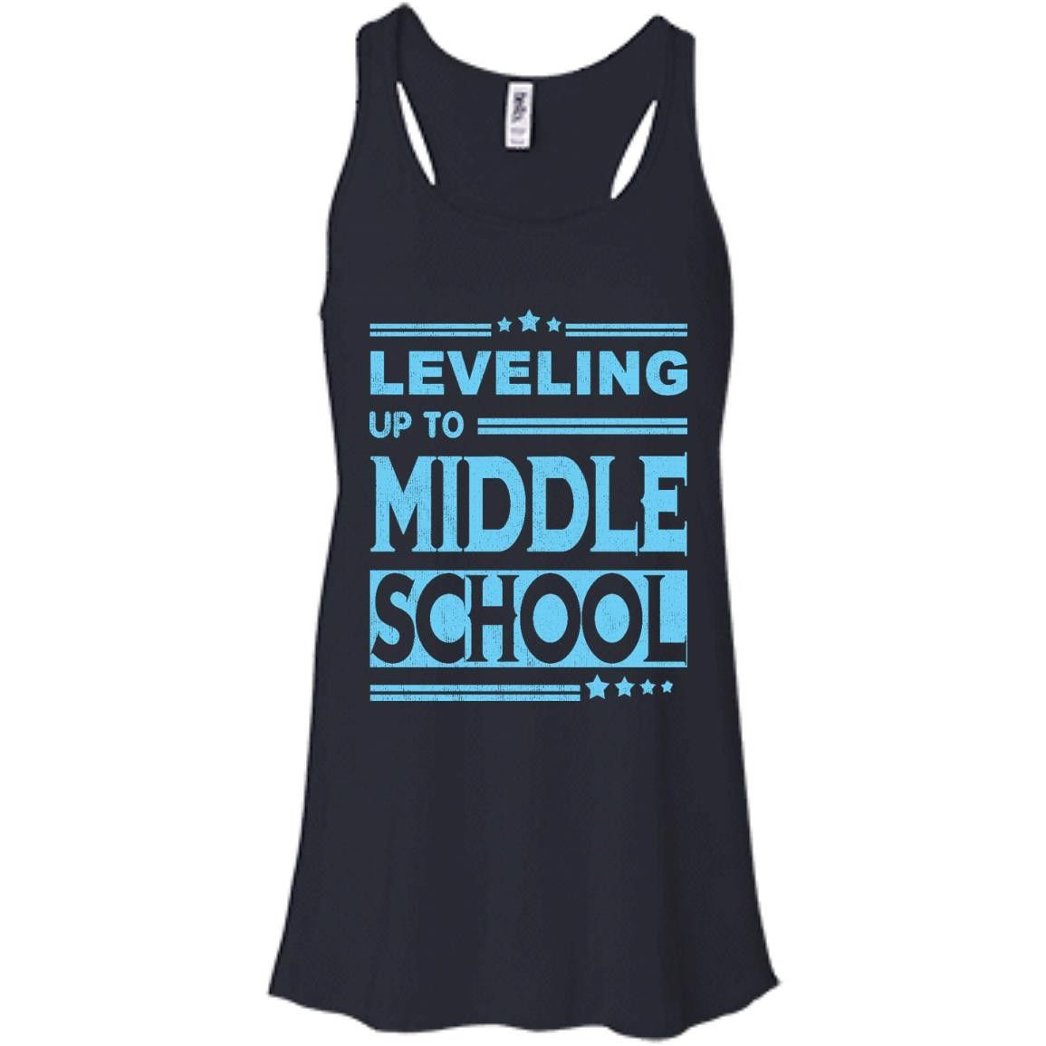 Leveling Up To Middle School baby blue B8800 Bella + Canvas Flowy Racerback Tank