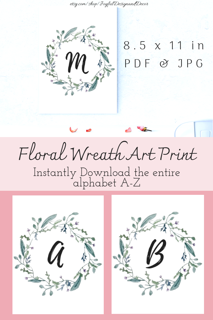 photo relating to Printable Letters for Signs named Printable Banners, Printable Letters, Botanical Wreath