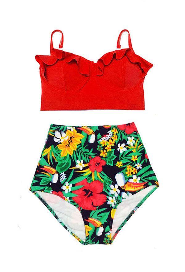 878464b8b0 Mix   Match High Waist Waisted Bikini Swimsuit