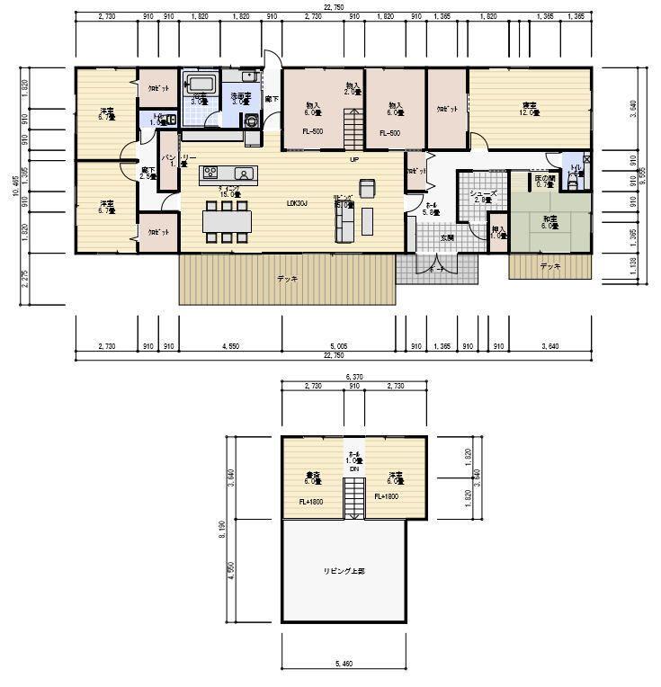 63坪 平屋で中二階スペースのある間取り Floor Plans House Floor