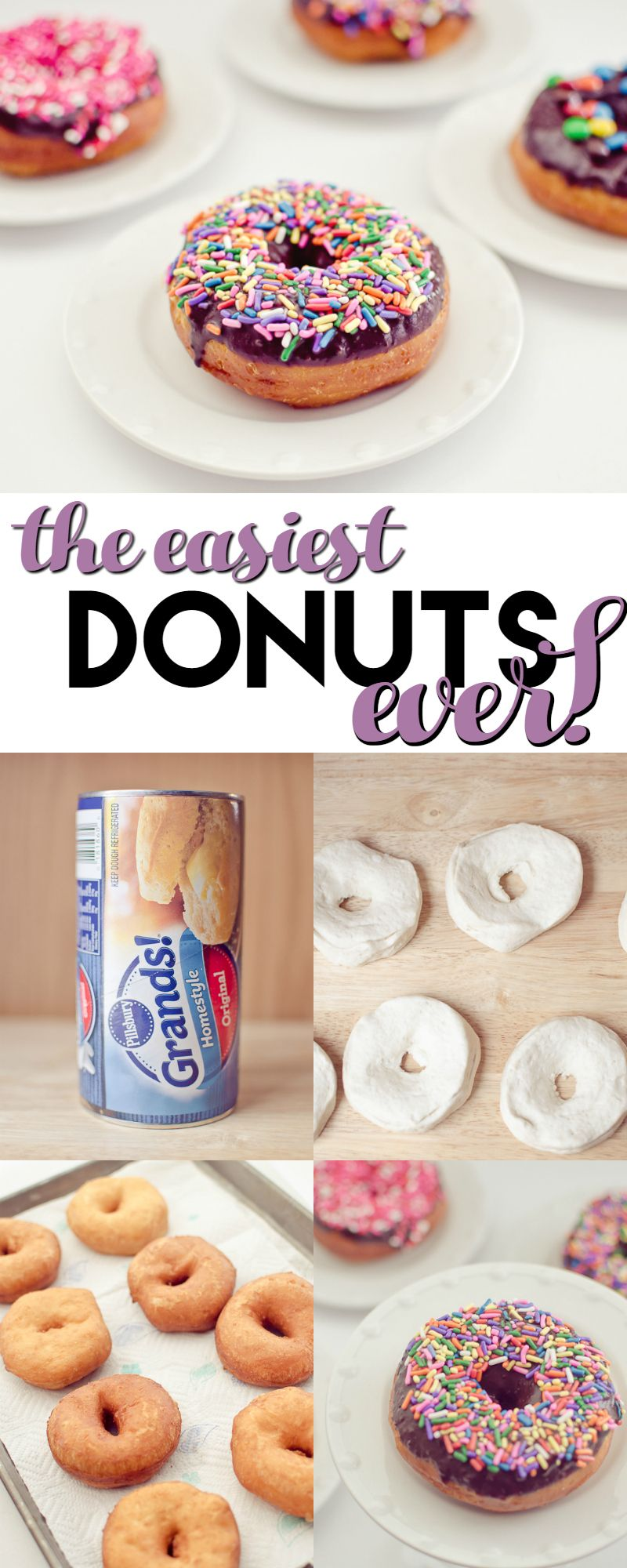 The Easiest Donuts Ever is part of Easy donuts - These Easy Donuts are so easy to make thanks to canned biscuits! They only take a few minutes to make and are melt in your mouth delicious!