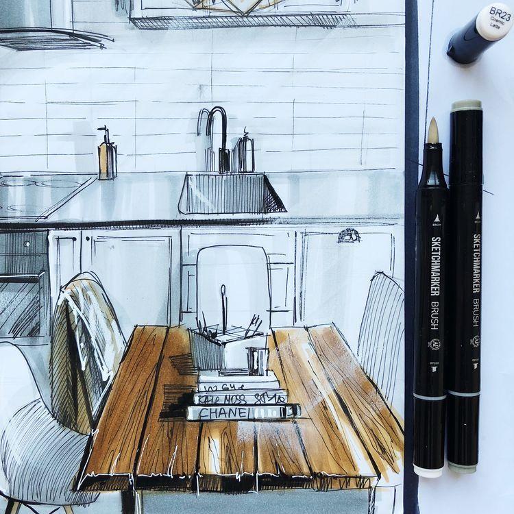 Dessin 3d cuisine et table à manger en bois Dessin in 2018
