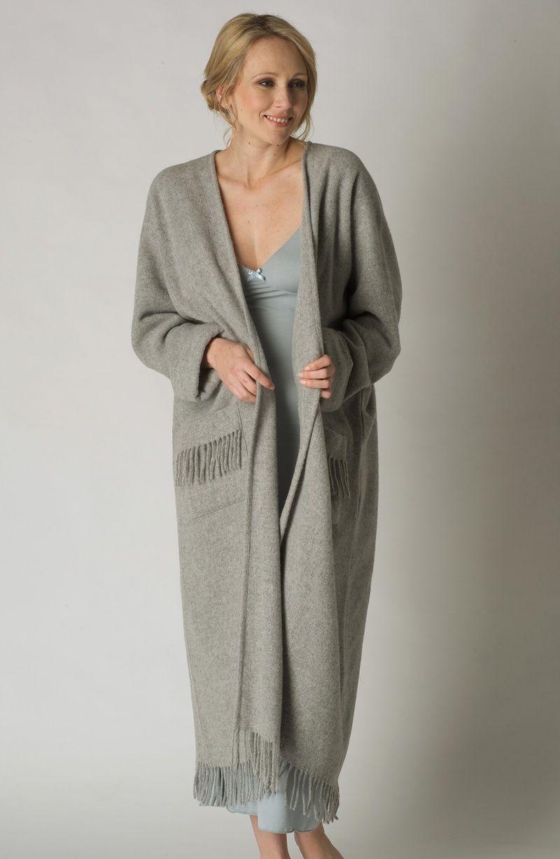 Ladies One Size Fringed Long Wool Poncho Style Robe Beige Chalk