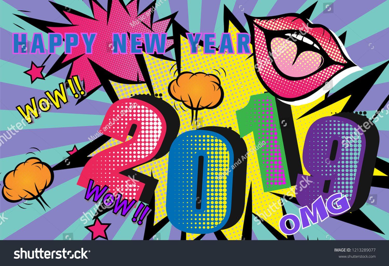 2019 Happy new year.Pop art retro Cartoon