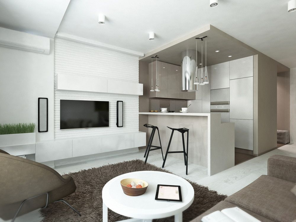 Creating A Stylish Studio Is Never A Simple Task When Nearly Everything I Kitchen Design Modern Small Modern Studio Apartment Decorating Modern Kitchen Design