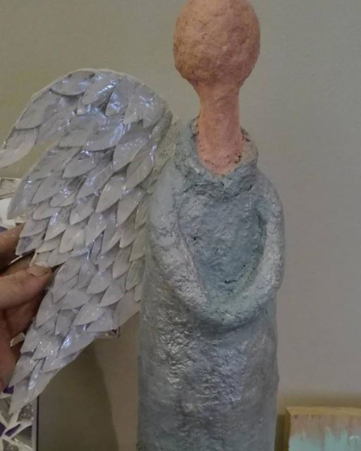 angel made from paper mache   work in progress | MADE BY ME