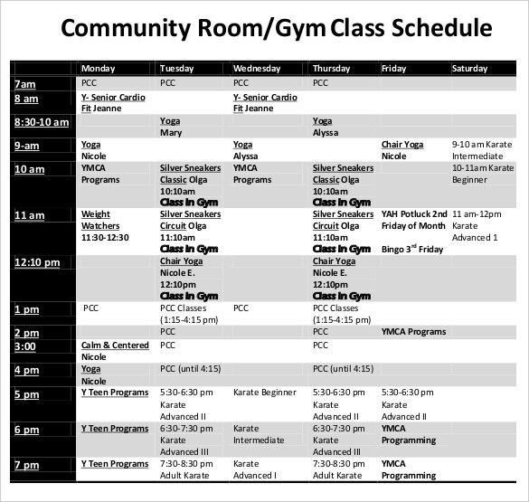 Class Schedule Templates 11+ Free Printable Word, Excel  PDF My