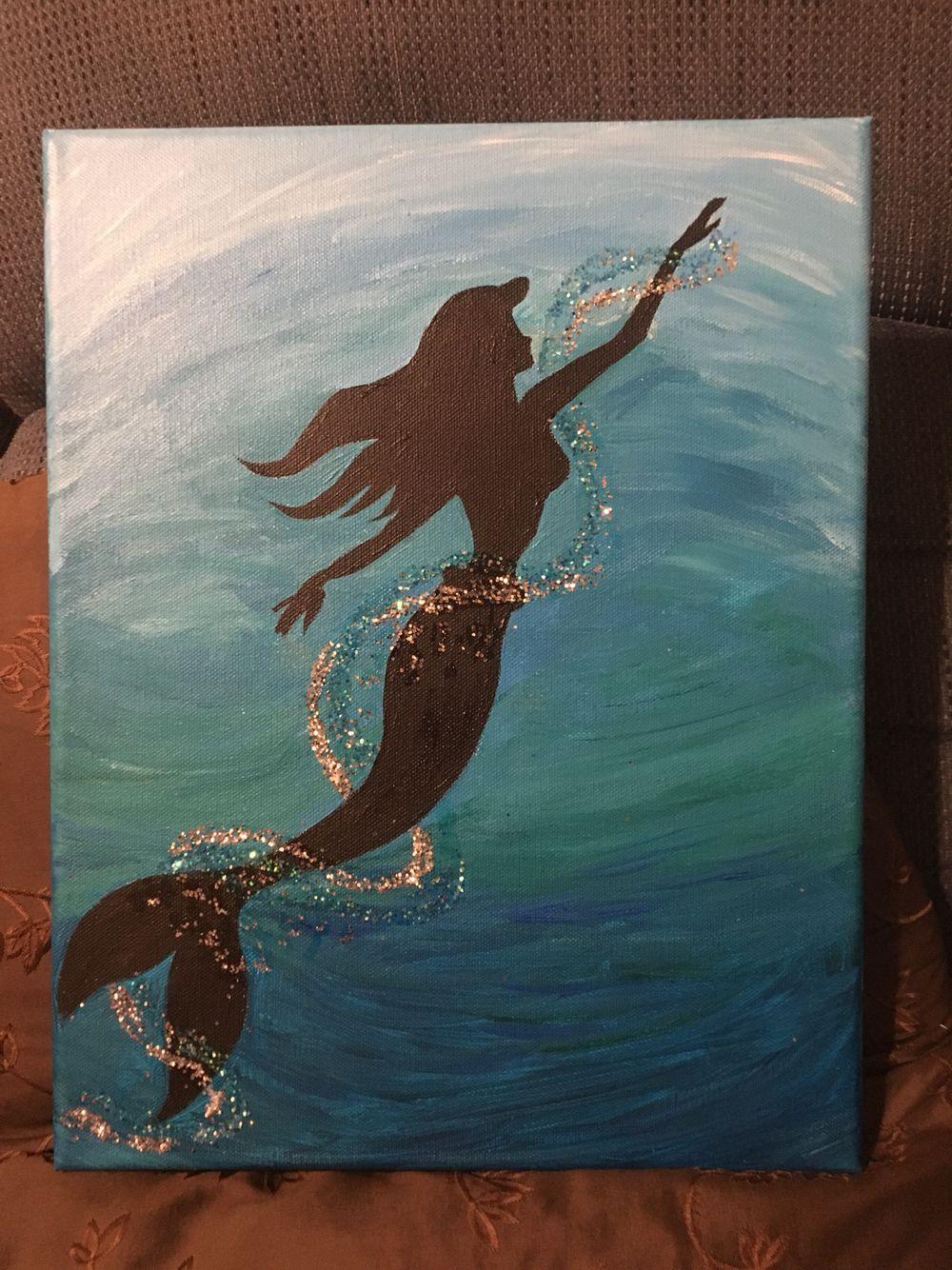 Little Mermaid Silhouette Disney Canvas Art Disney Canvas Paintings Mermaid Painting