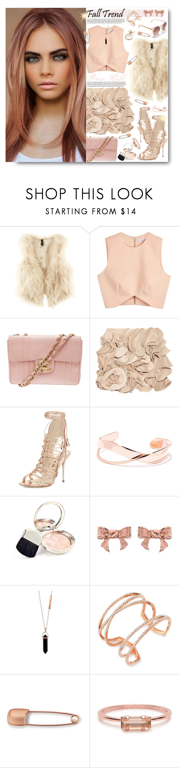 """""""Untitled #186"""" by tinaisapenguin ❤ liked on Polyvore featuring H&M, Finders Keepers, Chanel, Valentino, Sophia Webster, By Terry, Ted Baker, Vince Camuto, Mara Hotung and Bing Bang"""
