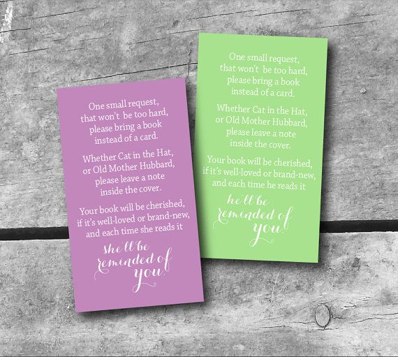 instant download baby shower book request card - color choice, Baby shower invitations
