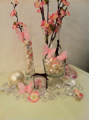 Diamonds And Pearls Themed Birthday Party (but With Black Orchids And Blue  Butterflies) This Is Pretty For The Center Pieces