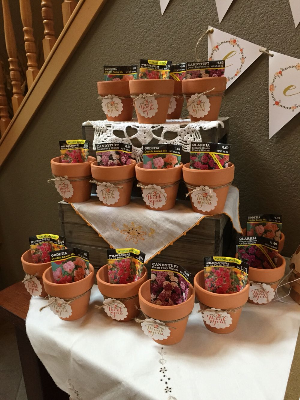 floral birthday party thank you favors pot and flower seed favors. beautiful ideas. Home Design Ideas