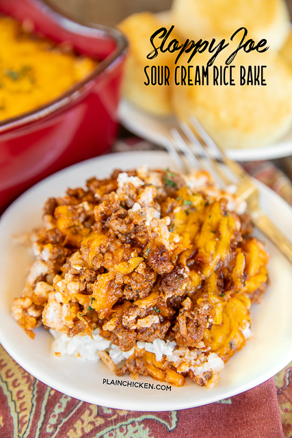 Sloppy Joe Sour Cream Rice Bake Easy Weeknight Ground Beef Casserole Ready In Under 30 Minutes Rice Sour Cr In 2020 Sloppy Joes Sour Cream Rice Recipes For Dinner