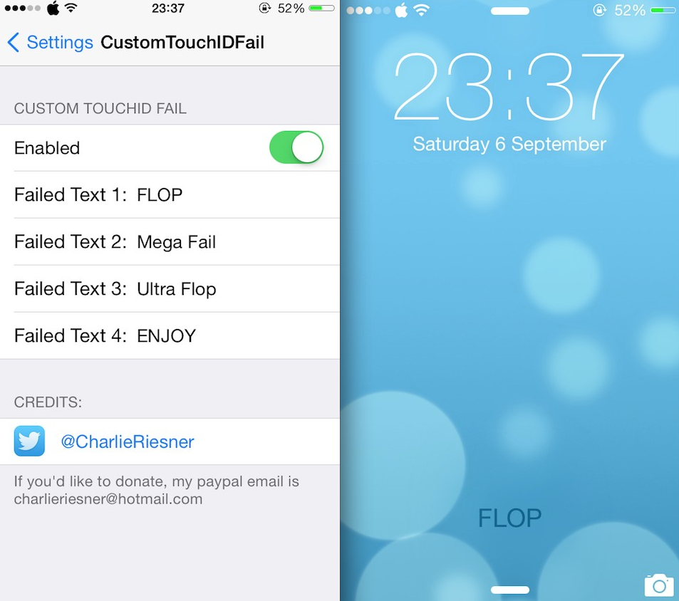 Custom Touch ID Fail, StatusBarTimer And Torch 3 Cydia