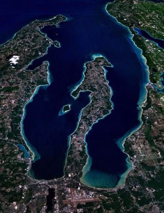 Aerial Photo Of The Old Mission Peninsula And East And West Grand Traverse Bays Near Traverse City Mi Traverse City Michigan Traverse City Traverse City Mi
