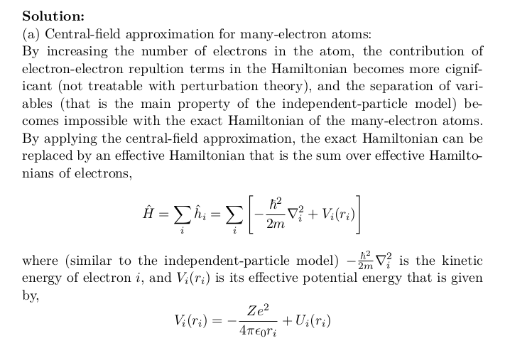 Central Field Approximation For Many Electron Atoms Electrons