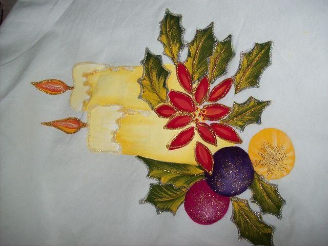 Individuales navide os pintados en tela buscar con - Motivos navidenos para pintar en tela ...