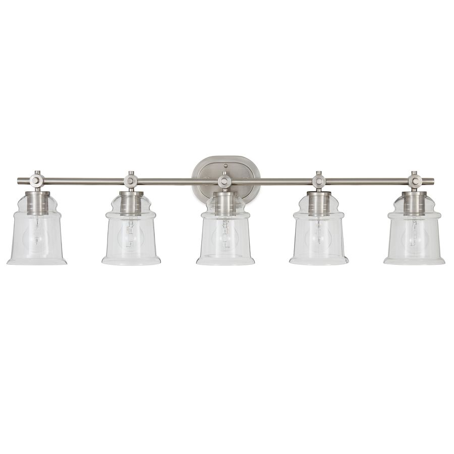 Allen Roth Winsbrell 5 Light Nickel Traditional Vanity Light Lowes Com Bathroom Light Fixtures Vanity Lighting Bathroom Vanity Lighting