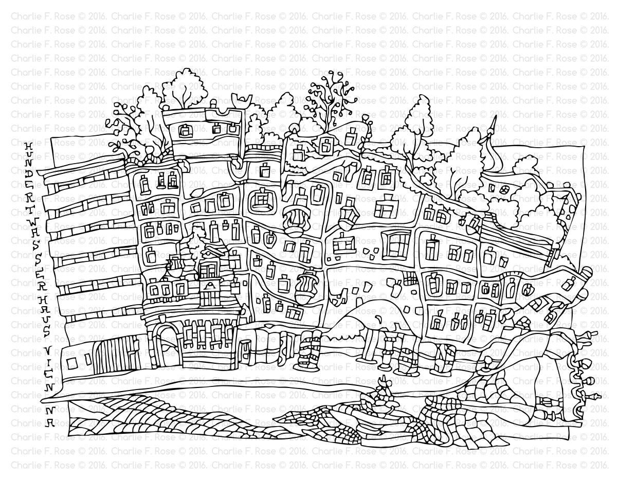 Coloring Architecture by Charlie F. Rose (Hundertwasserhaus