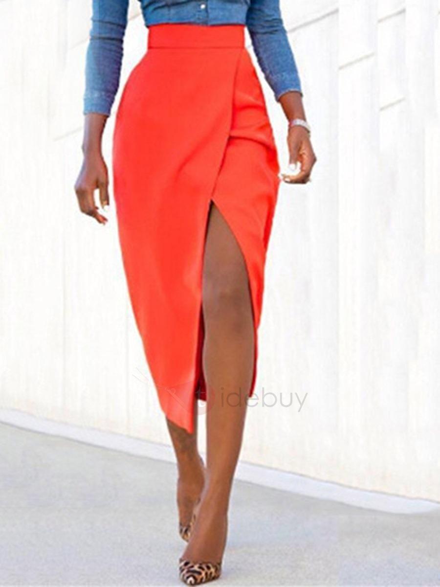 TideBuy - TideBuy Plain Asymmetric Mid-Calf Skirt - AdoreWe.com