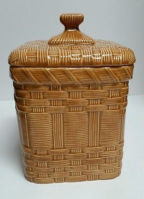 Rustic Cookie Jar Prepossessing Vintage Ceramic Picnic Basket Brown Cookie Jar Canister Rustic Design Inspiration
