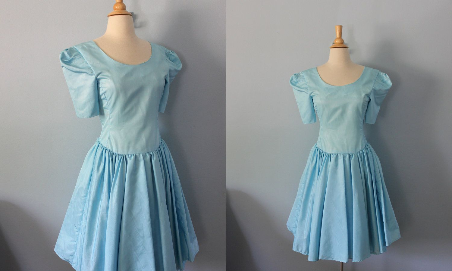 1980s party dress / 80s prom dress / blue taffeta dress | Prom ...