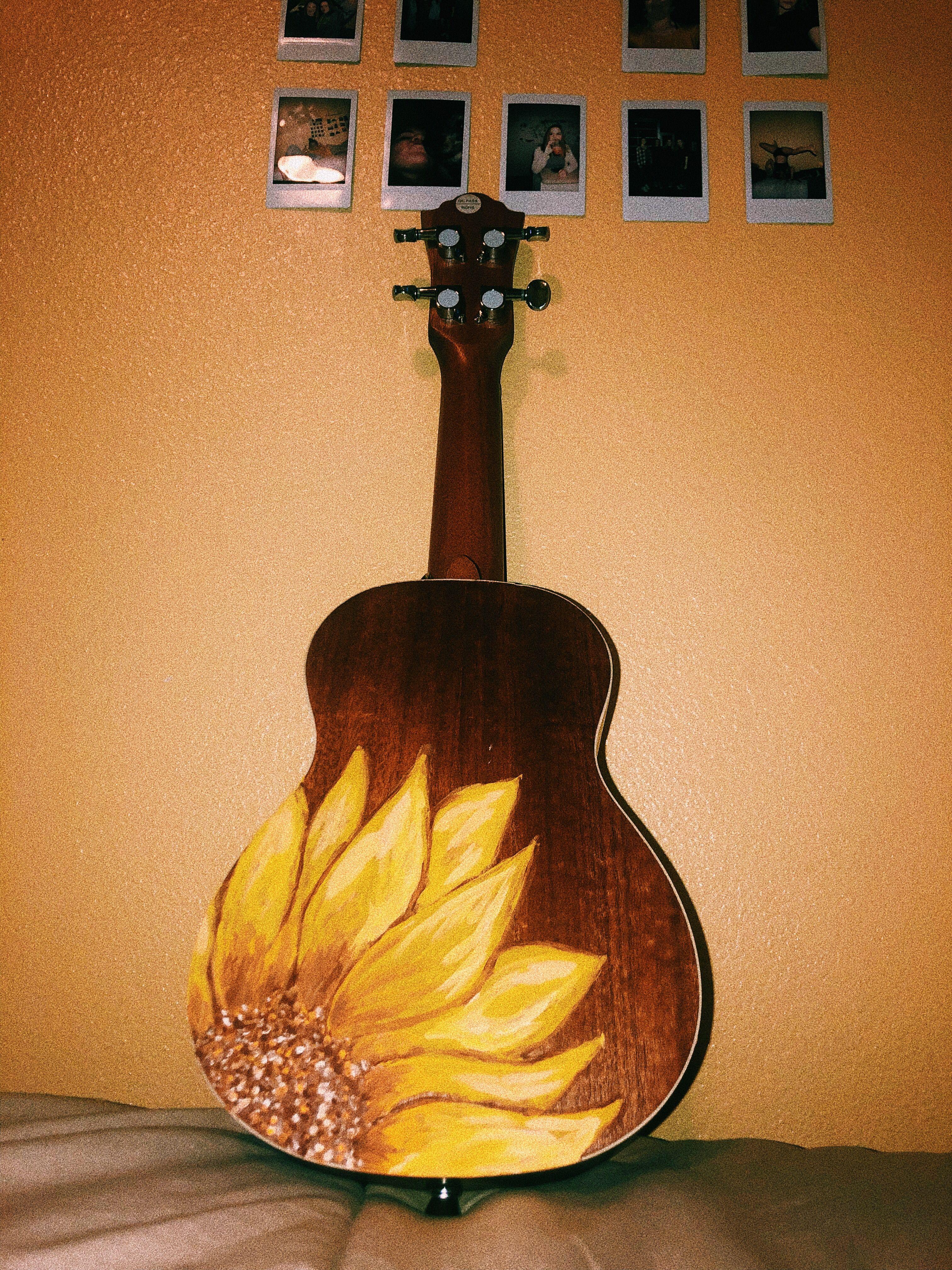 Sunflower Painted Ukulele Painted Ukulele Cute Canvas Paintings Sunflower Painting