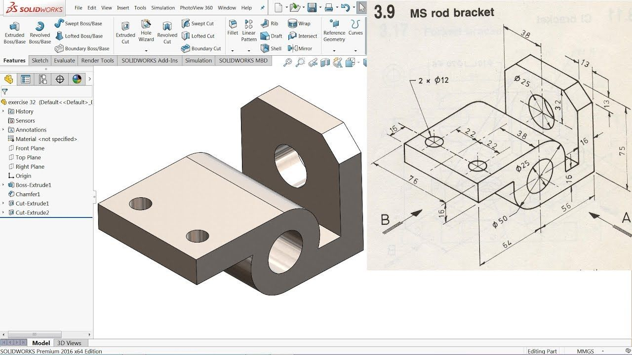 Solidworks Tutorial For Beginners Exercise 32 Youtube