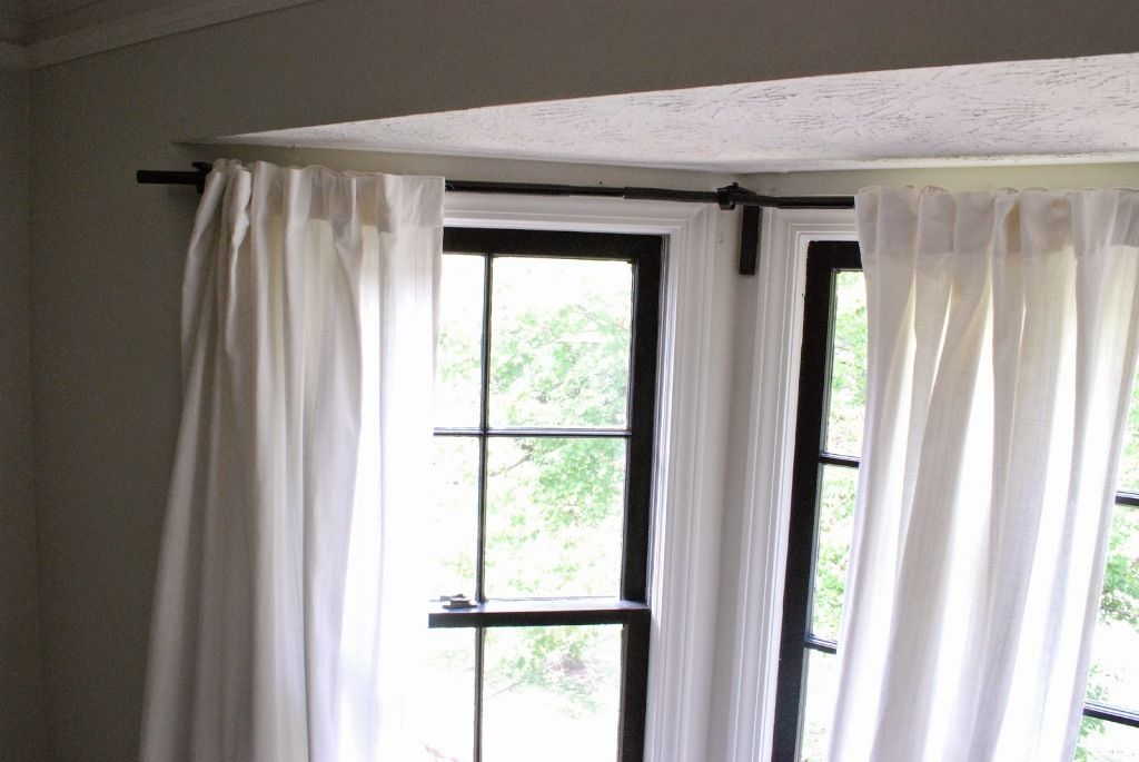 Interior Superb Bay Window Curtain Rods Double Also Bay Window