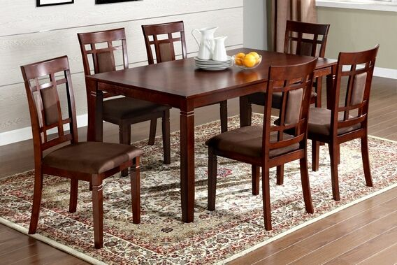 Cm3930t 7pk 7 Pc Montclair I Dark Cherry Wood Finish Dining Table Set Rectangular Dining Table Dining Room Sets Dining Table Chairs