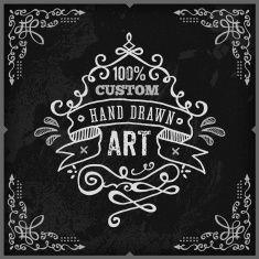 Hand Drawn Chalk Vintage Label vector art illustration
