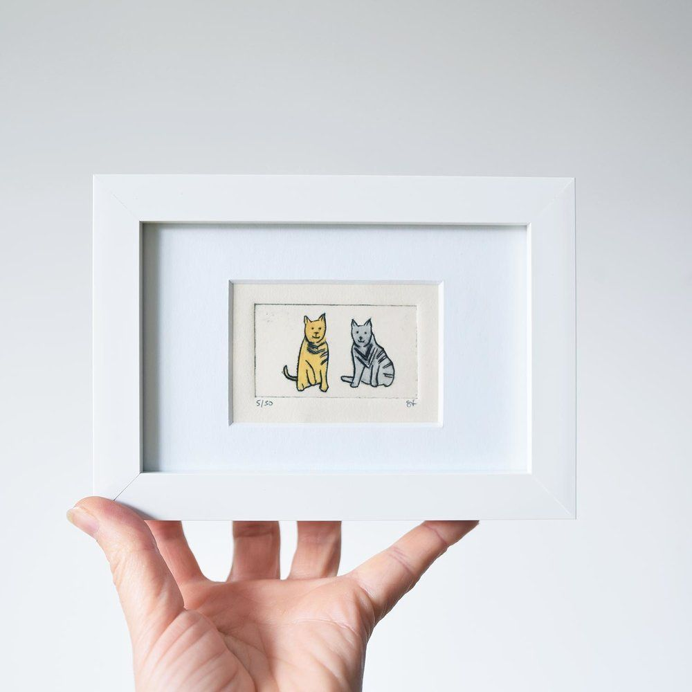 Cats collagraph print in a white frame Cute cat