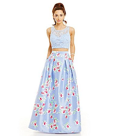 B Darlin Lace Bodice To Floral Print Skirt TwoPiece Gown #Dillards ...