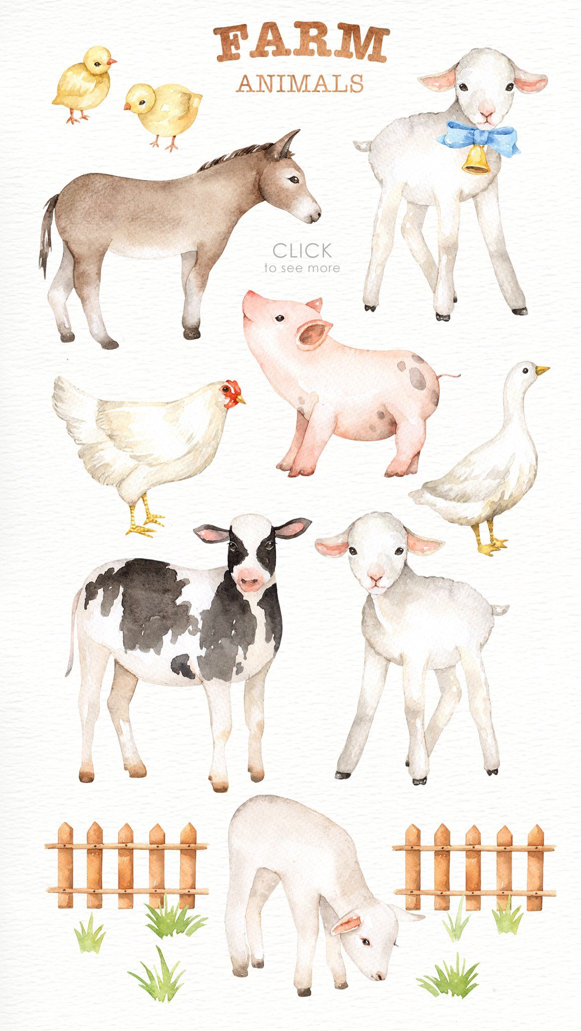 Farm Animals Watercolor Clipart Animal Nursery Art Farm Animal
