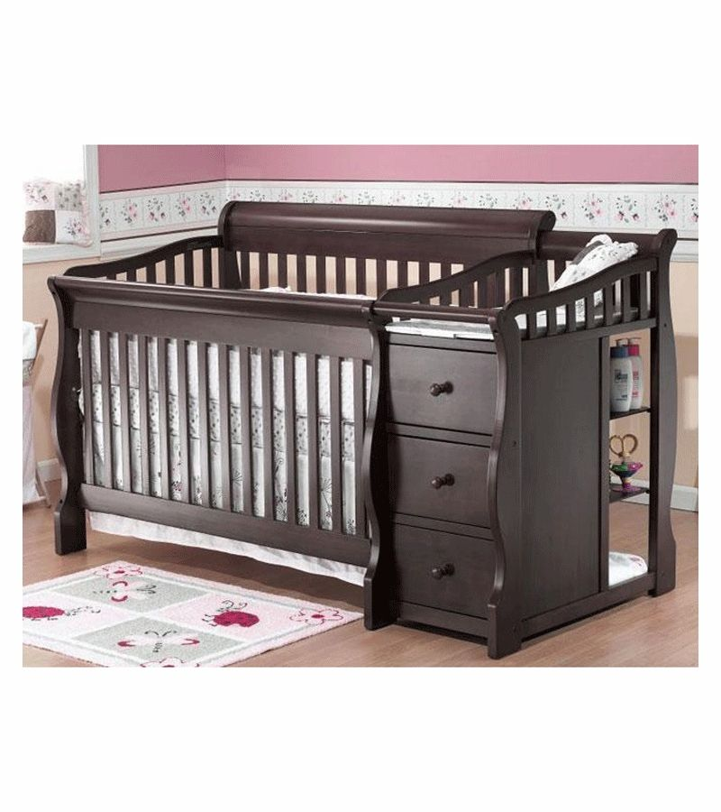 Sorelle Tuscany 4 In 1 Convertible Crib Combo In Espresso Crib Changing Table Combo Crib With Changing Table Convertible Crib
