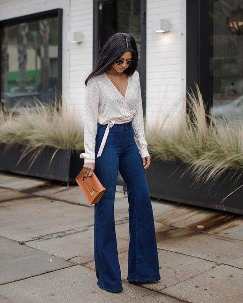 Jeans: tumblr denim blue flare blouse white blouse wrap top shirt ...