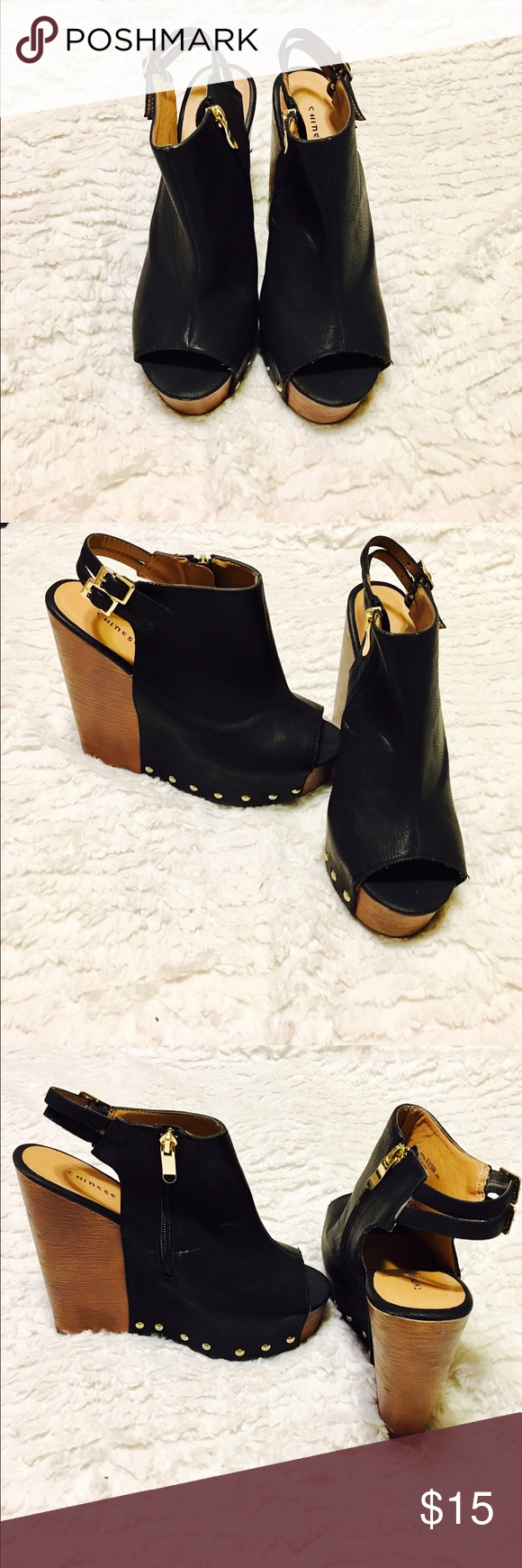 Black heals Amazing black heels and super easy to walk in. Chinese Laundry Shoes Wedges