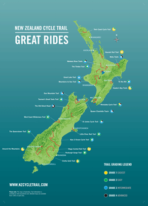 New Zealand Cycle Trail - printable map | New Zealand Trip in 2019 on