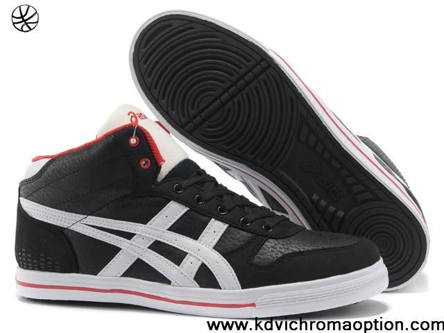 Wholesale Discount Cheap 2013 Asics High Skateboard Shoes Black White Red