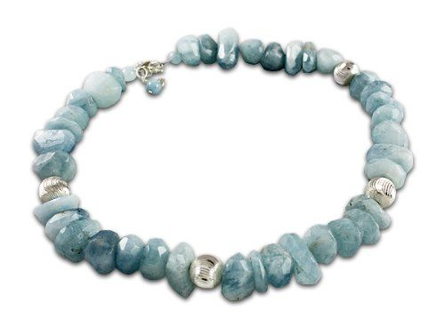 Semi-Precious Genuine Aquamarine Stone Necklace with Sterling Silver Beads; Handmade in the USA $189