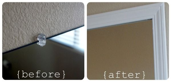 framing your bathroom mirror with plastic clips